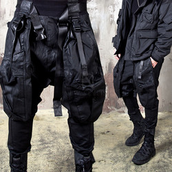 Techwear multiple buckled strap coated baggy pants