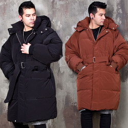 Belted duckdown padded long parka