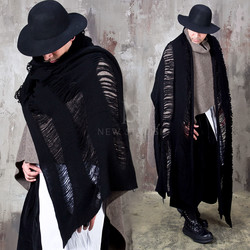 Distressed black wool knit long muffler