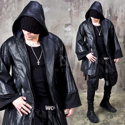 Wide sleeve hooded leather robe coat