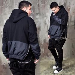 Contrast side zippered hoodie