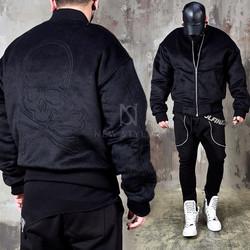 Back skull fur air-force zip-up jacket