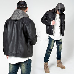 Detachable hood layer leather jacket