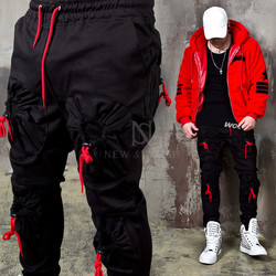 4 Red cord pocket black banded pants