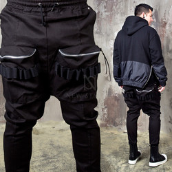 Shirring strap big zipper pocket banded baggy pants