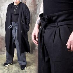 Harajuku vibe high waist wool wide pants
