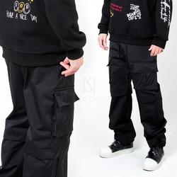 Square cargo pocket black banding pants