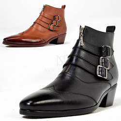 Triple buckle wing tip high heel ankle boots