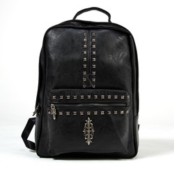 Studded emblem leather backpack ver.2