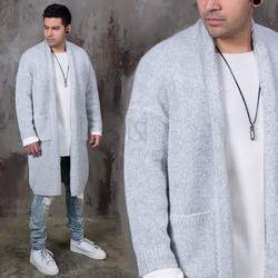 Oversized plain long knit cardigan