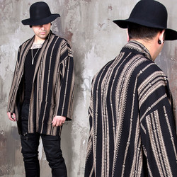 Ethnic patterned loose fit robe cardigan
