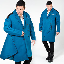 One side cover layered blue wide coat