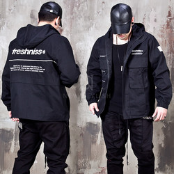 Techwear hooded zip-up jacket