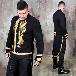 Gold embroidery detachable tailcoat jacket