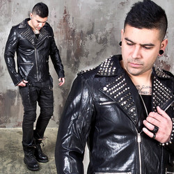 Slim Studded leather rider jacket