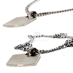 Squared matt silver charm chain necklace