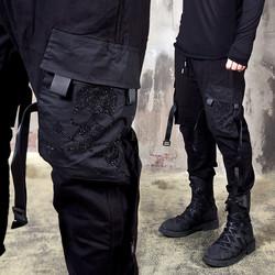 buckle strap cubic skull pocket banded pants