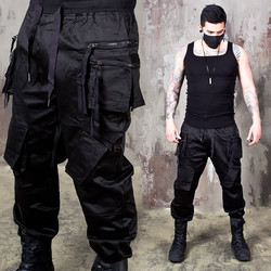 Double zippered techwear cargo banded pants