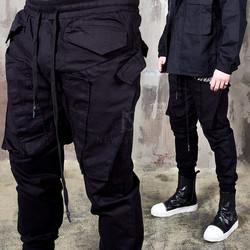 Unique pocket black banded pants