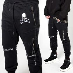 Skull printed black banded pants