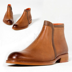Fade toe brown leather ankle boots