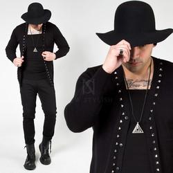 Stud line black knit cardigan