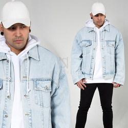 Blue denim trucker jacket