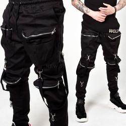 Metal hook strap zipper pocket banded pants