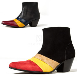 Contrast triple line leather high heel western ankle boots