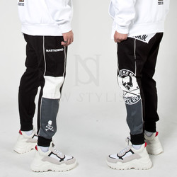 Big skull printed contrast sweatpants