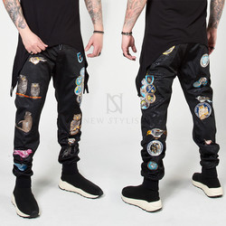 Multiple animal patchwork sweatpants
