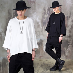 Loose fit crop sleeve long t-shirts