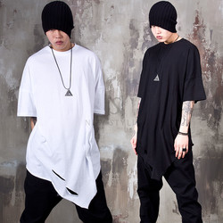 Asymmetric knife cut long t-shirts
