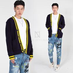 Stripe contrast knit cardigan