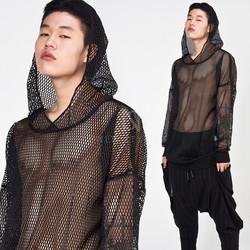 Avant-garde mesh hoodie