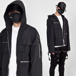 Multiple pockets techwear hooded zip-up jacket