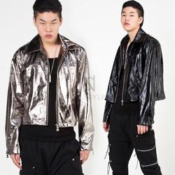 Retro shiny zip-up crop jacket