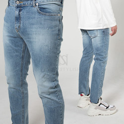 Washed light blue scratch slim jeans