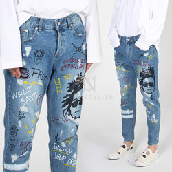 Funky scribble printed denim jeans