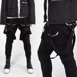 Three way buckle strap zipper pocket pants