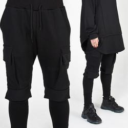 Long banded hem baggy cargo banded pants