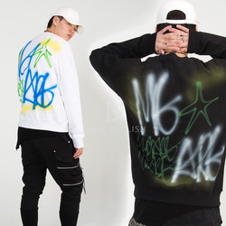 Spray painted back sweatshirts