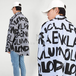 Lettering printed stripe loose shirts