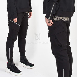 Three zippered black cargo sweatpants