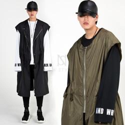 Oversized long zip-up vest