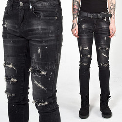 Distressed washed black slim jeans