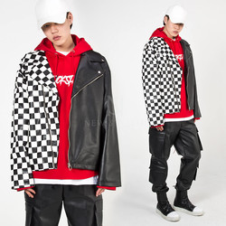 Half chess checkered contrast leather rider jacket