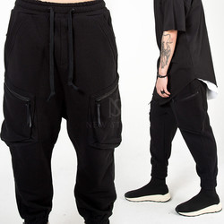 Curved zipper cargo baggy jogger pants