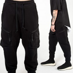 Curved zipper cargo baggy jogger pants