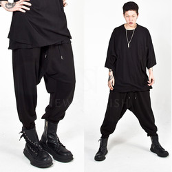 Plain loose baggy banded pants